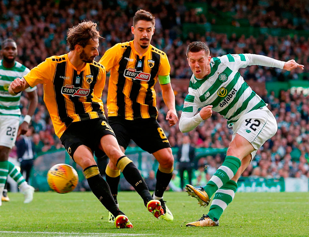 Callum McGregor fires Celtic into the lead during their 1-1 draw against AEK Athens in Glasgow last night