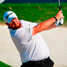 Shane Lowry plays a bunker shot during a practice round at Bellerive yesterday. Photo: Stuart Franklin/Getty Images