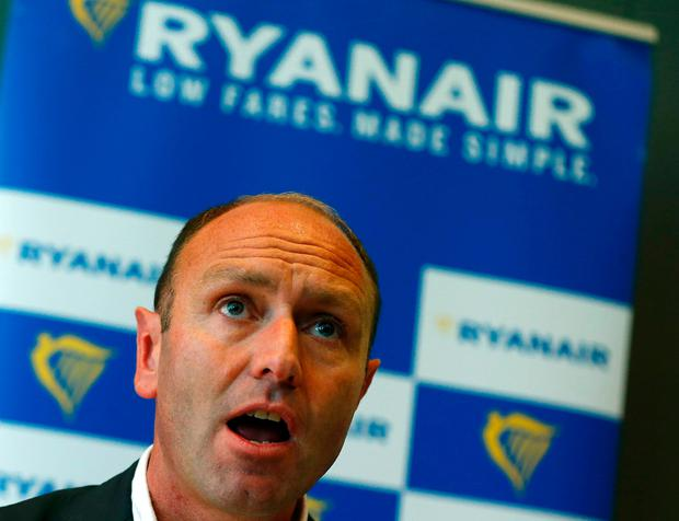 Kenny Jacobs chief marketing officer of Ryanair during a news conference in Frankfurt Germany