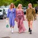 Emili Sindlev, Jeannette Madsen, Thora Valdimars seen outside Cecilie Bahnsen during the Copenhagen Fashion Week Spring/Summer 2019 on August 8, 2018 in Copenhagen, Denmark. (Photo by Christian Vierig/Getty Images)