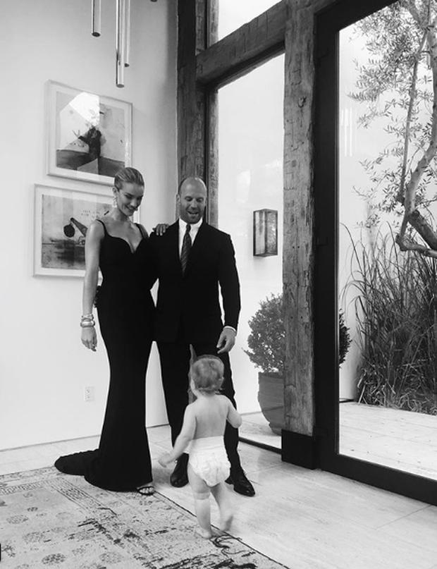 Rosie Huntington-Whiteley and fiancé Jason Statham with son Jack. Picture: Instagram