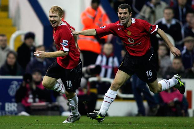 Paul Scholes and Roy Keane are two of the Man United legends who will appear at the Liam Miller tribute match in Pairc Ui Chaoimh. (Photo by Mark Thompson/Getty Images)