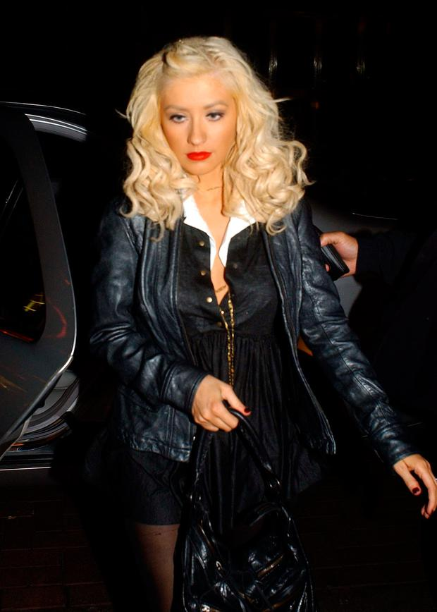 Singer Christina Aguilera spotted entering Lillies Bordello nightclub for an afterparty for her sold out concert in the Point Theatre in 2006