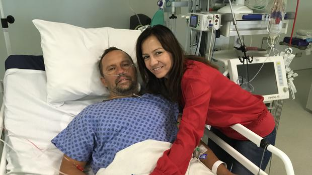 Hungarian swimmer Attila Manyoki recovering at the Ulster Hospital with his partner Monika Pais (South East Health and Social Care Trust)