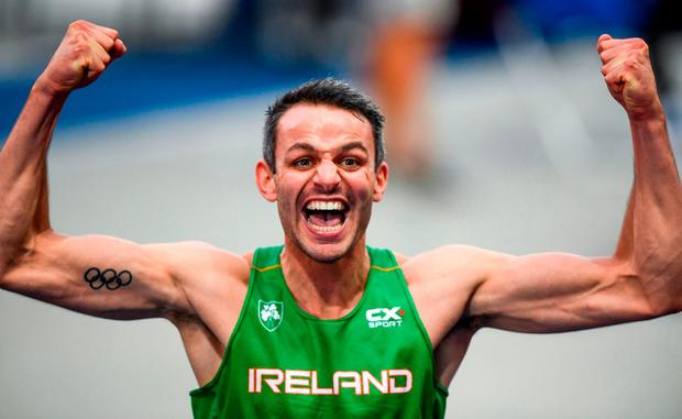 Thomas Barr of Ireland celebrates after winning a bronze medal following the Men's 400mH Final during Day 3 of the 2018 European Athletics Championships at The Olympic Stadium in Berlin, Germany. Photo by Sam Barnes/Sportsfile
