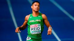 9 August 2018; Leon Reid of Ireland competing in the Men's 200m Final during Day 3 of the 2018 European Athletics Championships at The Olympic Stadium in Berlin, Germany. Photo by Sam Barnes/Sportsfile
