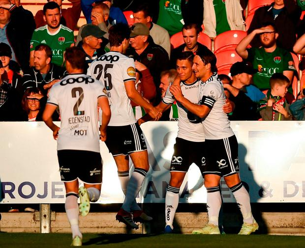 Jonathan Levi, second from right, celebrates with his Rosenborg team-mates after scoring his side's first goal during the UEFA Europa League Third Qualifying Round 1st Leg match between Cork City and Rosenborg at Turners Cross in Cork. Photo by Stephen McCarthy/Sportsfile