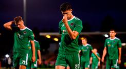Shane Griffin and his Cork City team-mates following the UEFA Europa League Third Qualifying Round 1st Leg match between Cork City and Rosenborg at Turners Cross in Cork. Photo by Stephen McCarthy/Sportsfile
