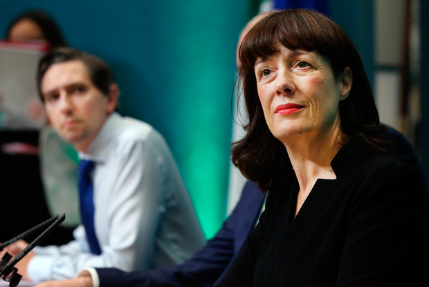Laura Magahy, executive director of the Sláintecare Programme Office, and (left) Health Minister Simon Harris at the publication of the Sláintecare Implementation Strategy at Government Buildings this week. Photo: Steve Humphreys