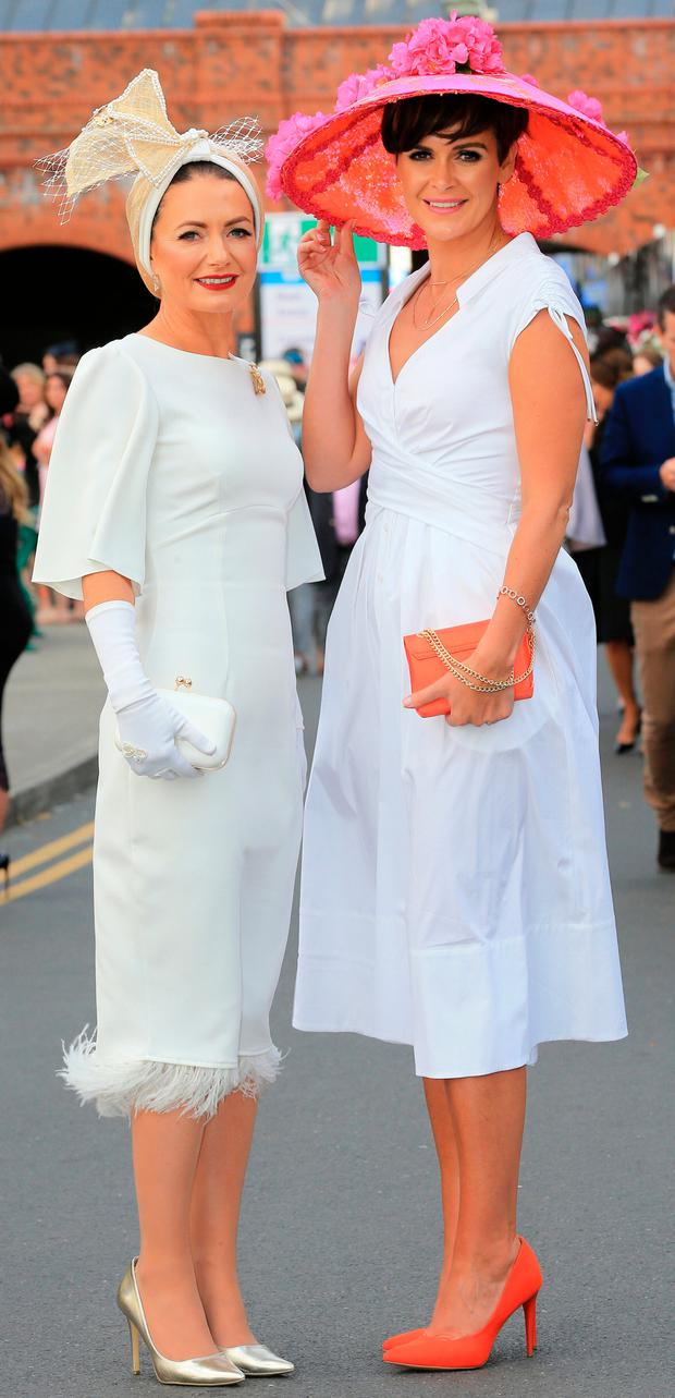 Best Dressed winner Deirdre Kane from Carlow and best hat winner Helen Murphy from Douglas, Co Cork. Picture: Gerry Mooney