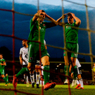 Cork City players react to a missed chance at Turner's Cross last night. Photo: Stephen McCarthy/Sportsfile