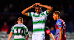 Sinclair Armstrong of Shamrock Rovers reacts during the FAI Cup defeat to Drogheda