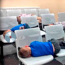 Margaret Cash's children asleep in Tallaght Garda Station on Wednesday night