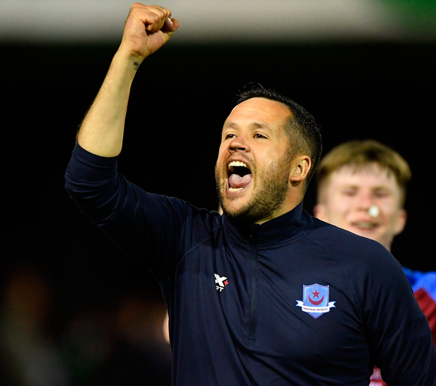 Drogheda United manager Tim Clancy celebrates. Photo: Sportsfile