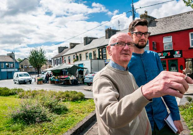 PLACES IN THE HEART: Gerry Healy with writer Wayne O'Connor in Charlestown. Photo : Keith Heneghan