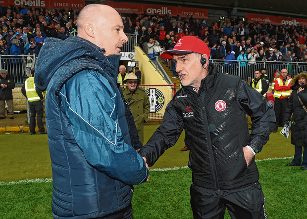 Malachy O'Rourke and Mickey Harte have both had to regroup after setbacks earlier this summer and today their teams go head-to-head, with a place in the All-Ireland final on the line. Photo: Sportsfile