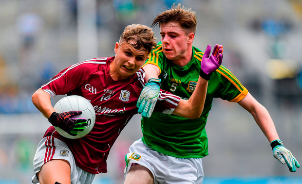 Daniel Cox of Galway in action against Conor Farrelly of Meath during the Electric Ireland GAA Football All-Ireland Minor Championship semi-final match between Galway and Meath at Croke Park in Dublin. Photo by Brendan Moran/Sportsfile