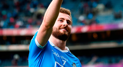 Man of the match Jack McCaffrey celebrates after Dublin's All-Ireland semi-final victory at Croke Park yesterday. Photo: Stephen McCarthy/Sportsfile