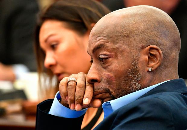 DYING MAN: Plaintiff Dewayne Johnson, right, reacts while attorney Brent Wisner, not seen, speaks about his terminal condition during the Monsanto trial in San Francisco. Photo: AP