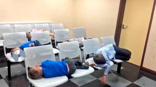 DISGRACE: Margaret Cash and her six children were forced to sleep on plastic chairs in Tallaght Garda Station.