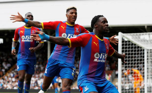 Crystal Palace's Jeffrey Schlupp celebrates scoring his side's first goal. Photo: Reuters