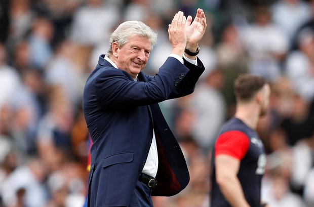 Crystal Palace manager Roy Hodgson applauds fans after the match. Photo: Reuters