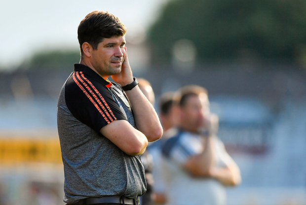4 August 2018; Kerry manager Eamonn Fitzmaurice during the closing stages of the GAA Football All-Ireland Senior Championship Quarter-Final Group 1 Phase 3 match between Kerry and Kildare at Fitzgerald Stadium in Killarney, Kerry. Photo by Brendan Moran/Sportsfile