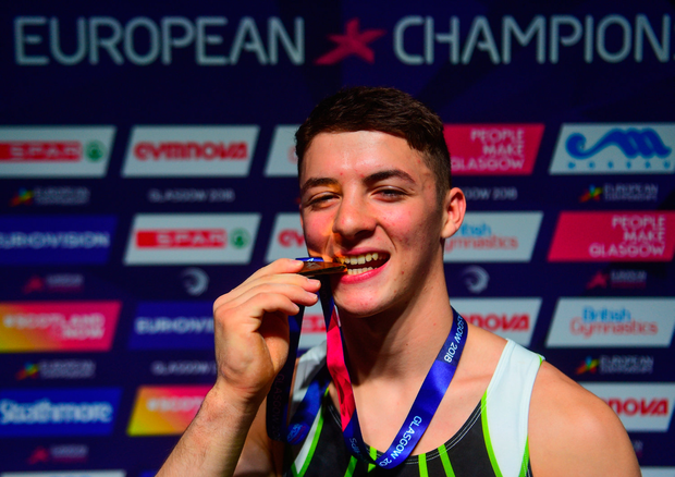 12 August 2018; Rhys McClenaghan of Ireland pictured with the gold medal after he won the Pommel Horse in the Senior Men's Gymnastics final during day eleven of the 2018 European Championships in Glasgow, Scotland. Photo by David Fitzgerald/Sportsfile
