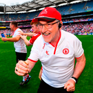 Tyrone manager Mickey Harte celebrates at the final whistle. Photo by Ramsey Cardy/Sportsfile