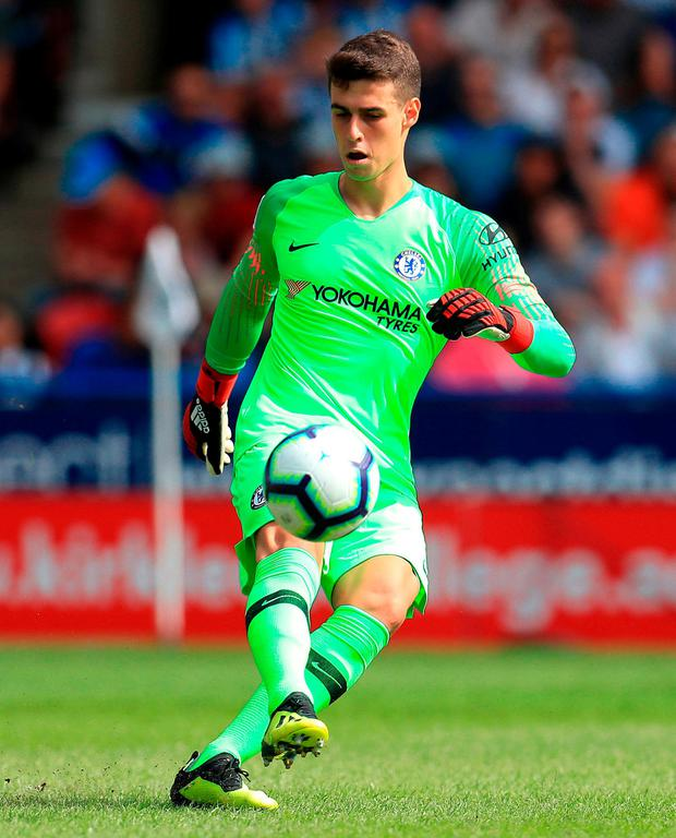 Kepa Arrizabalaga in action during his Chelsea debut against Huddersfield. Photo: Mike Egerton/PA Wire