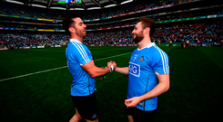 Michael Darragh Macauley and Jack McCaffrey celebrate after Saturday's victory over Galway secured another All-Ireland SFC final date. Photo by Stephen McCarthy/Sportsfile