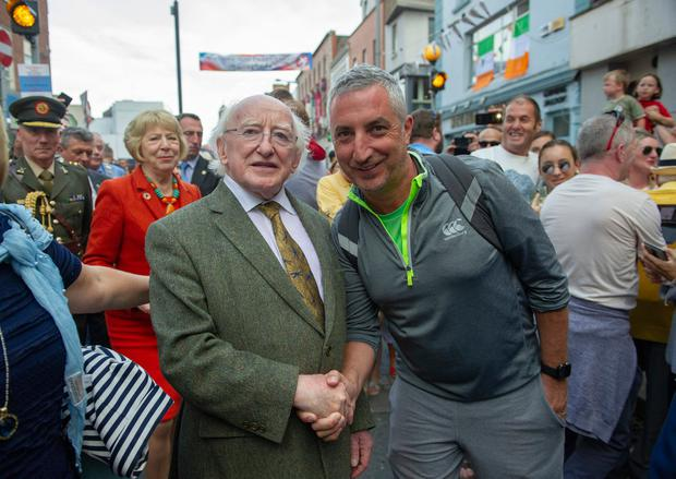 President Michael D Higgins meets Owen Moore from Clogherhead, Co Louth. Photo: Ciara Wilkinson