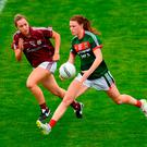 Aileen Gilroy of Mayo in action against Caitriona Cormican of Galway. Photo by Eóin Noonan/Sportsfile