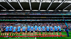 The empty spaces in the Hogan Stand tell their own story as Dublin line up to meet President Michael D Higgins on Saturday. Photo by Stephen McCarthy/Sportsfile