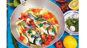 Fish in Crazy Water from Jamie Cooks Italy by Jamie Oliver. Photo: David Loftus.