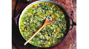 Minestrone - Risotto rice & seasonal veg with Parmesan, lemon & garlic pesto. Photo: David Loftus.