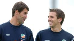 Roy Keane and Liam Miller during their Ireland days