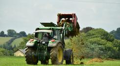 Farmer Richard Corries Co Carlow setting up silage pods for the cows after morning milking. Photo Roger Jones.