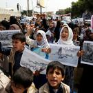 ATTENTION EDITORS - VISUAL COVERAGE OF SCENES OF INJURY OR DEATH Boys and girls demonstrate outside the offices of the United Nations in Sanaa, Yemen to denounce last weeks air strike that killed dozens including children in the northwestern province of Saada, August 13, 2018. REUTERS/Khaled Abdullah
