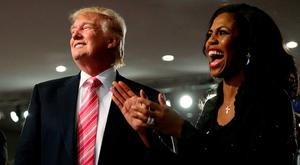 Donald Trump and Omarosa Manigault Newman attend a church service in Detroit in 2016 during the presidential election race. Photo: Reuters