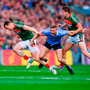 Dublin's Ciarán Kilkenny is shadowed by Mayo's Donal Vaughan and Lee Keegan during last year's final. Photo by Sam Barnes/Sportsfile