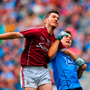 BURST OF ENERGY: Ian Burke of Galway is tackled by Eoin Murchan during the All-Ireland semi-final at Croke Park. Photo by Brendan Moran/Sportsfile