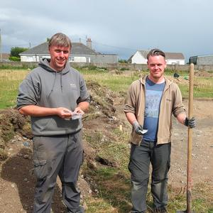 Denis Shine (left, of the Irish Archaeology Field School) and Stephen Callaghan at last week's dig beside Crinkle Barracks.