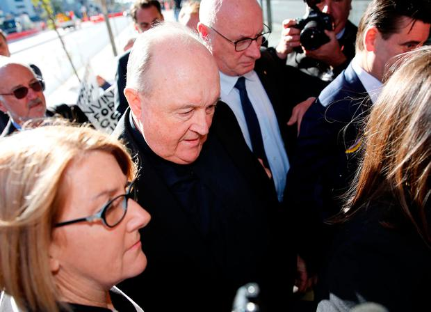 Former Australian archbishop Philip Wilson arrives at Newcastle Local Court for a post-sentence decision where he was ordered to serve his one-year sentence at home. August 14, 2018. AAP/Darren Pateman/via REUTERS