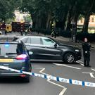Police activity on Millbank, in central London, after a car crashed into security barriers outside the Houses of Parliament. Tuesday August 14, 2018. Sam Lister/PA Wire