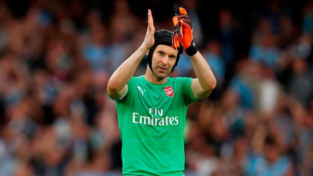 Arsenal's Petr Cech applauds fans after the match