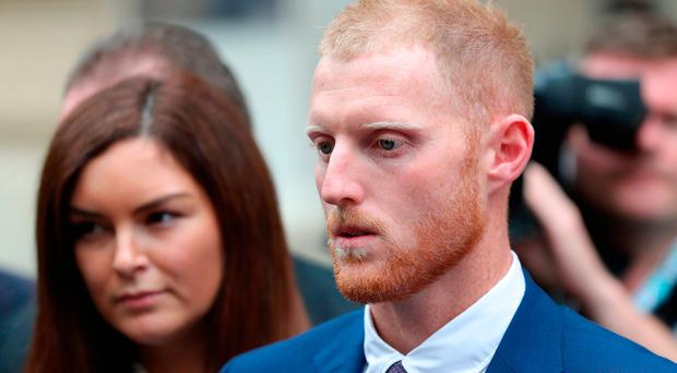 England cricketer Ben Stokes and his wife Clare leaving Bristol Crown Court