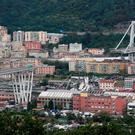 The scene in Genoa where the Morandi Bridge collapsed during torrential rain