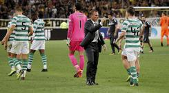Dejected Celtic players have nowhere to hide after going two goals down to AEK Athens. Photo: Alkis Konstantinidis/Reuters
