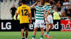 Celtic's James Forrest looks dejected after the match